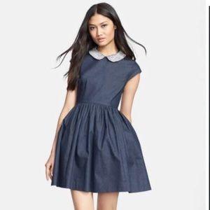 NWOT Kate Spade Denim Rhinestone Collar Dress